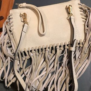 Street Level leather/suede fringe wristlet